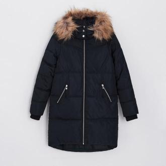 Cropp - Pikowany płaszcz z ekologicznym wypełnieniem - Czarny