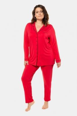 Duże rozmiary Piżama, damska, czerwony, rozmiar: 50/52, wiskoza, Ulla Popken