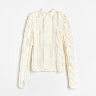 Reserved - Ażurowa bluzka ze stójką - Kremowy