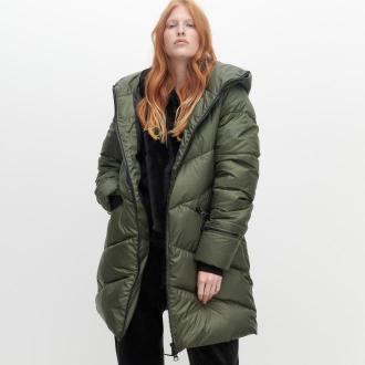 Reserved - Ocieplany płaszcz z kapturem - Khaki