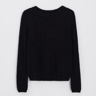 Cropp - Sweter z prążkowanej dzianiny - Czarny