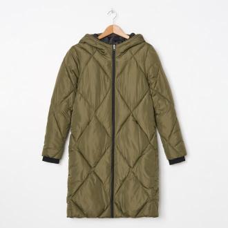 House - Pikowany płaszcz z kapturem - Khaki