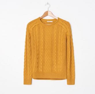 House - Sweter z warkoczowym splotem - Żółty