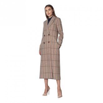 Dwurzędowy płaszcz w kratę
