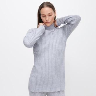 Reserved - PREMIUM Sweter z wełną merino - Jasny szary