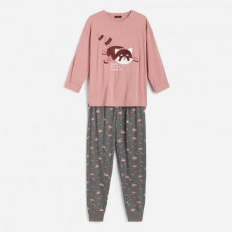 Reserved - Dwuczęściowa piżama ze spodniami - Brązowy