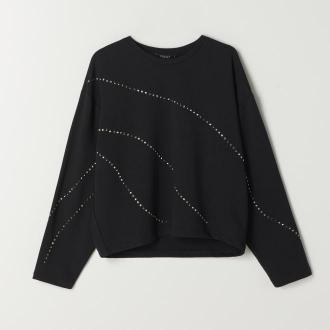 Mohito - Bawełniana bluzka z aplikacją - Czarny