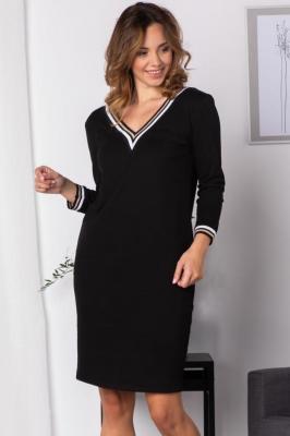 Sukienka do pracy dresowa ze ściągaczami AGATA czarna ze złotym paseczkiem