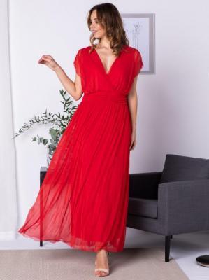 Sukienka na wesele  tiulowa długa MANUELA czerwona
