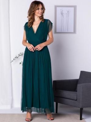 Sukienka wieczorowa tiulowa długa MANUELA butelkowa zieleń
