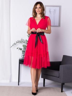 Sukienka na świeta tiulowa z falbanką i paskiem ASIA malinowa