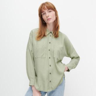 Reserved - Gładka koszula z lyocellu - Zielony