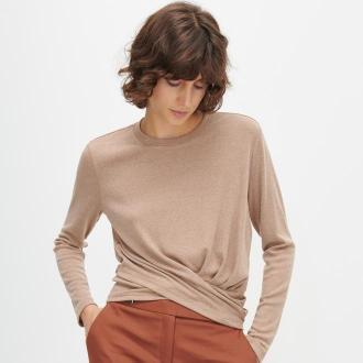 Reserved - Dzianinowa bluzka ze ściągaczem - Beżowy