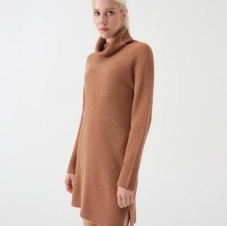 Sinsay - Długi sweter oversize z golfem - Beżowy