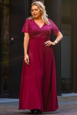 Sukienka elegancka long WIOLETA połyskująca bordowa
