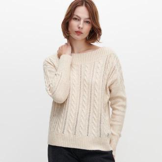 Reserved - Sweter z warkoczowym splotem - Beżowy