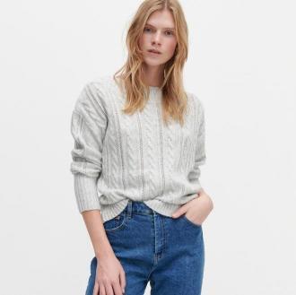 Reserved - Sweter z warkoczowym splotem - Jasny szary
