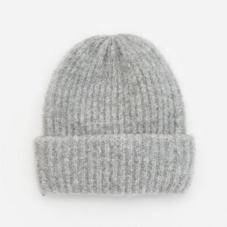 Reserved - Melanżowa czapka w prążek - Jasny szary