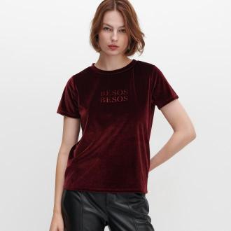 Reserved - Welurowy T-shirt z napisem - Bordowy
