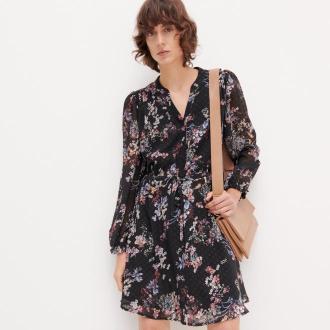 Reserved - Sukienka z kwiatowym wzorem - Czarny