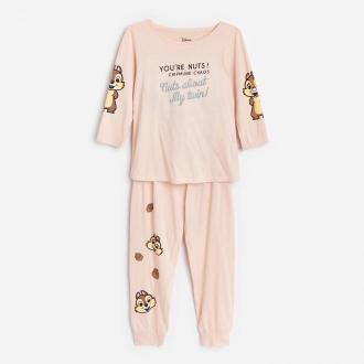Reserved - Piżama z długimi spodniami Chip i Dale - Beżowy