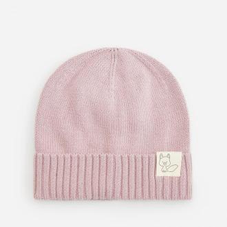 Reserved - Bawełniana czapka z ozdobną naszywką - Różowy