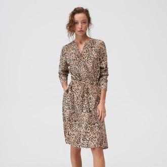Mohito - Koszulowa sukienka we wzory - Beżowy