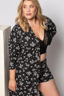 Duże rozmiary Kimono, damska, czarny, rozmiar: 42/44, baweÅna/wÅókna syntetyczne, Ulla Popken