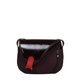 torebka damska skórzana Mouse na ramię ciemno brązowa
