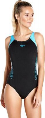 speedo Boom Splice Kostium kąpielowy Muscleback Kobiety, black/turquoise DE 32 US 28 2018 Stroje jednoczęściowe
