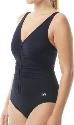 TYR Solids Strój kąpielowy V-neck Controlfit z zamkiem Kobiety, black US 10 DE 40 2020 Stroje kąpielowe