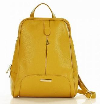 Plecak skórzany włoski MAZZINI - Daria Elegante skóra dollaro żółty mustard
