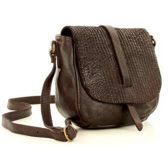 Marco Mazzini Torebka listonoszka saddle bag genuine leather brąz caffe