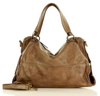 MARCO MAZZINI Oryginalna torba skórzana hobo na ramię old leather beżowa taupe
