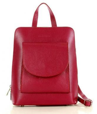 MARCO MAZZINI Plecak damski genuine leather bordowy rubin
