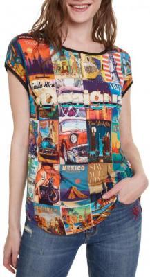 Desigual kolorowa koszulka TS Phoebe - S