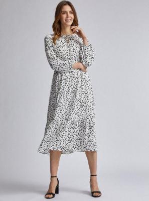 Biała sukienka midi w kwiaty Dorothy Perkins - XS