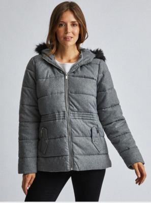 Szara pikowana kurtka z futerkiem Dorothy Perkins - XS