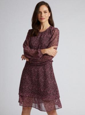 Fioletowa sukienka z gepardowym wzorem Dorothy Perkins - XS