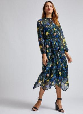 Czarna sukienka midi w kwiaty Dorothy Perkins - XS