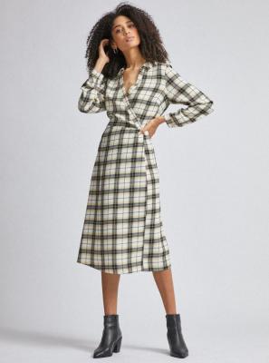 Dorothy Perkins czarno-kremowa sukienka midi w kratę - XS