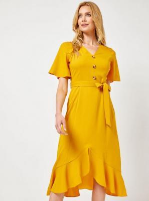Sukienka midi musztardowa Dorothy Perkins - M