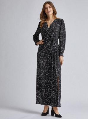 Czarna sukienka maxi w groszki Dorothy Perkins - S