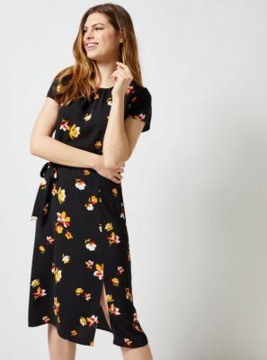 Czarna kwiecista sukienka Dorothy Perkins - S
