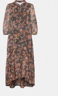 Różowo-szara sukienka maxi w kratę VERO MODA Nuka - XS