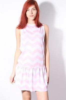 Femi Pleasure BAHAMA PINK ZIGZAK krótkie sukienki - S