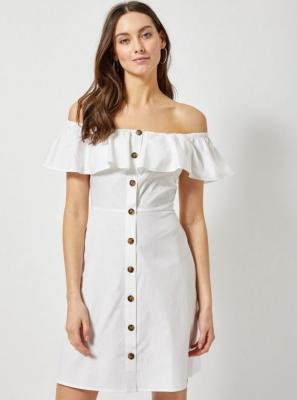 Biała sukienka z odkrytymi ramionami Dorothy Perkins - L