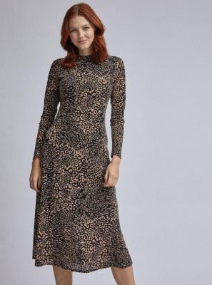Brązowo-czarna sukienka midish w panterkę od Dorothy Perkins - S