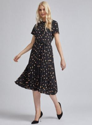 Czarna plisowana sukienka midi w kropki Dorothy Perkins - XS