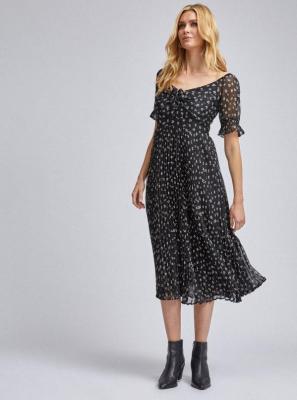 Czarna plisowana sukienka midi w kwiaty Dorothy Perkins - XS